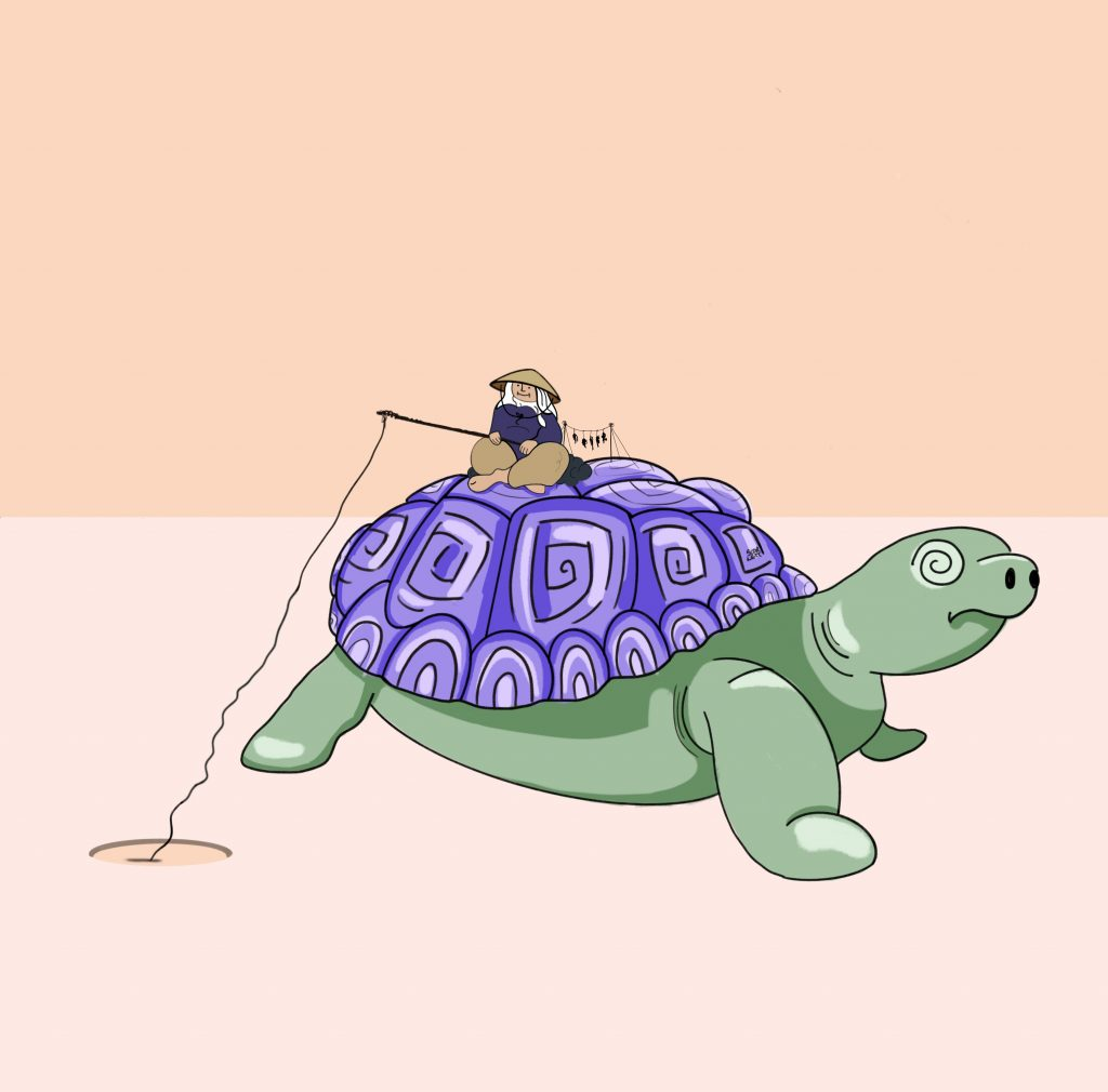 a little fisherman rides a turtle in the desert - illustration